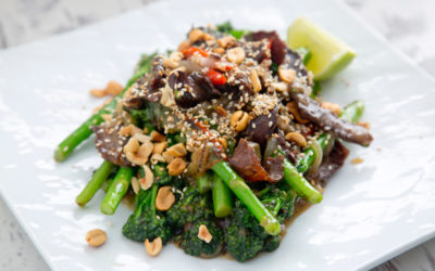 Biltong and Tenderstem Broccoli in Sweet Soy with Sesame & Nut Crumble Recipe