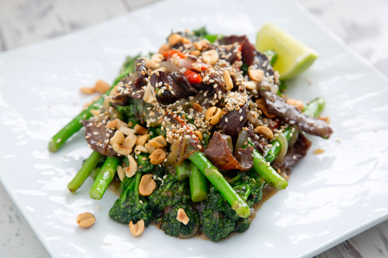 Gary O Hanlon - Biltong and Tenderstem Broccoli in Sweet Soy with Sesame & Nut Crumble Recipe