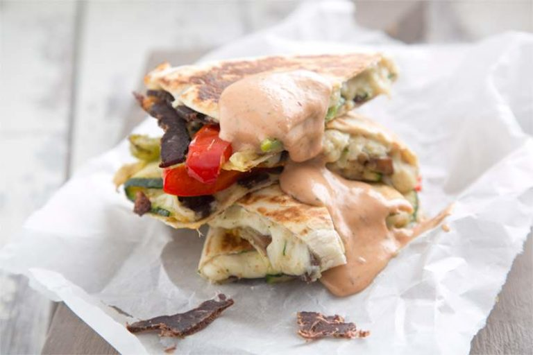 Irish Biltong & Grilled Vegetable Quesadilla with Spicy Mayonnaise