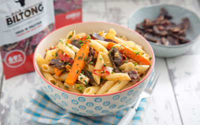 Biltong Penne Butternut Squash and Cherry Tomato Bake and Feta Recipe