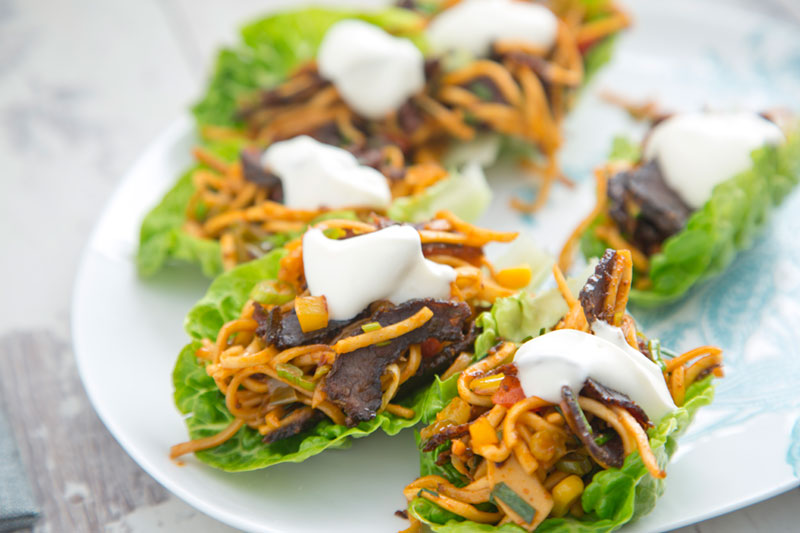 Irish Biltong Spicy Noodle Lettuce Cups with Natural Yoghurt